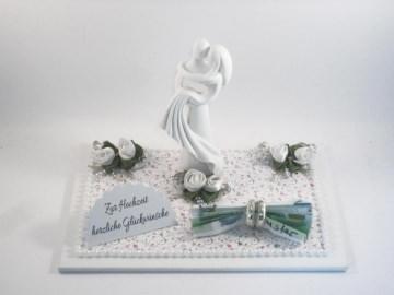 Hochzeit, Geldgeschenk, Brautpaar, modern, stilisiert, Skulptur