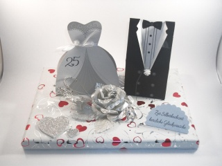 Geldgeschenk, Silberhochzeit, 25 Jahre Ehe, Silberne Hochzeit   - Handarbeit kaufen