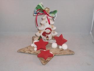 Geldgeschenk zu Weihnachten, Tischdeko, Stern, Baum mit Schneemann - Handarbeit kaufen