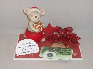 Geldgeschenk zu Weihnachten, Weihnachtsdeko, Winterzeit, Maus, Mausefalle, Geld verschenken
