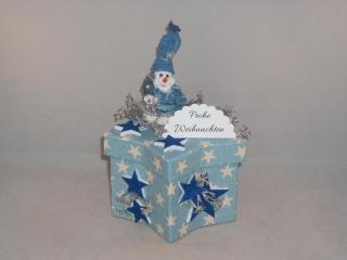Geldgeschenk, Geschenkschachtel, Sternschachtel, Weihnachten, mit lustigem Schneemann