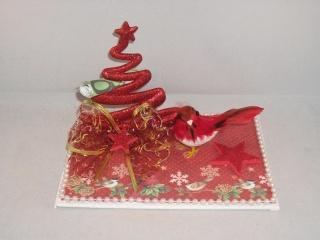 Geldgeschenk zu Weihnachten, Tischdeko mit Baum und Federvogel, Winterzeit - Handarbeit kaufen
