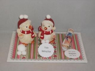 Geldgeschenk zu Weihnachten, Piepen, Vogel, lustige Keramikvögel, Wintervögel - Handarbeit kaufen