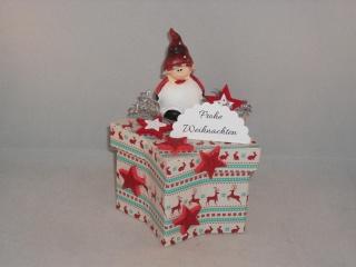 Geldgeschenk, Geschenkschachtel, Sternschachtel, Weihnachten, mit lustigem Weihnachts-Wichtel - Handarbeit kaufen