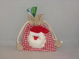 Geldgeschenk zu Weihnachten, Geschenksäckchen aus Jute mit Nikolaus-Kopf