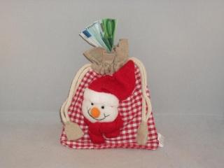 Geldgeschenk zu Weihnachten, Geschenksäckchen aus Jute mit Schneemann-Kopf