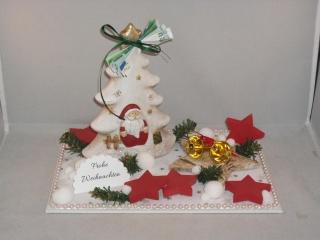 Geldgeschenk zu Weihnachten, Tischdeko, Winterzeit, Keramikbaum mit Nikolaus