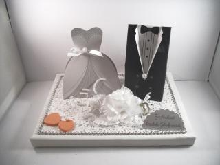 Geldgeschenk, Hochzeit, Vermählung, Geschenkschachtel, ganz edel in weiß-silber-orange - Handarbeit kaufen