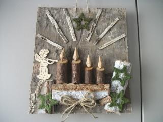 weihnachtliches Wandbild aus Naturmaterial, Advent, auch als Geldgeschenk verwendbar - Handarbeit kaufen