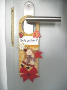 Türschild für Weihnachten, Nicht gucken, Schlüsselloch-Verdecker - Handarbeit kaufen