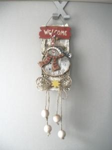 kleine weihnachtliche Wanddekoration, Türdekoration, Holz-Deko auf Rinde - Handarbeit kaufen