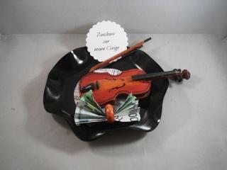 Geldgeschenk, Geburtstag, verbogene Schallplatte, Musik, Geige, Vinyl   - Handarbeit kaufen