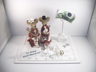 Geldgeschenk zur Hochzeit, Mäuse, Geldklammer, Hochzeitsgeschenk - Handarbeit kaufen