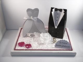Geldgeschenk, Hochzeit, Vermählung, Geschenkschachtel, ganz edel in Farbe mauve