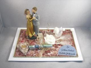 Geldgeschenk Goldene Hochzeit, 50, Ehejubiläum, lange Ehe, Goldhochzeit, junggebliebenes Paar - Handarbeit kaufen