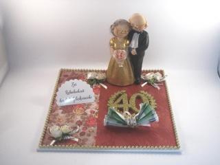 Geldgeschenk Rubinhochzeit, 40, Ehejubiläum, Rubin, 40 Jahre verheiratet  - Handarbeit kaufen