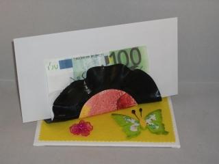 Geldgeschenk Briefablage aus alter Schallplatte, Geburtstag, Zettelhalter, Serviettenhalter