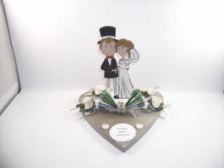 Geldgeschenk, Hochzeit, Ehe, Vermählung, Herz, Holzherz, Brautpaar-Figur aus Holz, Hochzeitsgeschenk - Handarbeit kaufen