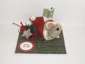 Geldgeschenk zu Weihnachten, Geld verschenken, Mäuse, Spardose, Wintermaus, Nikolaus   - Handarbeit kaufen