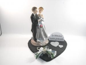 Geldgeschenk, Silberhochzeit, 25 Jahre Ehe, Silberne Hochzeit, auf Schiefer-Herz