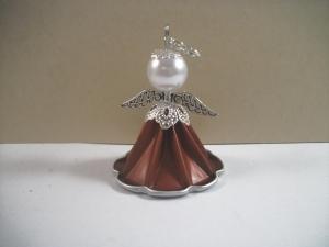 Geschenkanhänger, Christbaumanhänger, Engel aus Kaffeekapsel, Engelchen, Nespresso Engel, kupferrot - silber, Schutzengel