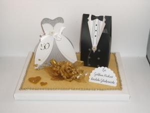 Geldgeschenk, Goldene Hochzeit, Goldhochzeit, Geschenkschachtel, ganz edel