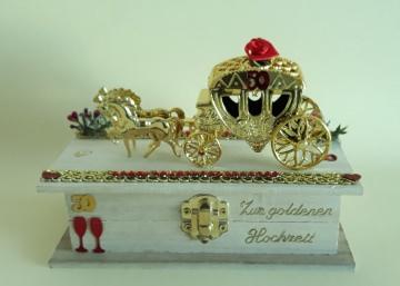Geldgeschenk zur Goldhochzeit Jubiläum 50 Jahre Holzkästchen Handarbeit