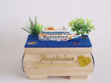 Geldgeschenk,Geburtstag,Hochzeit,Wellness Urlaub,Schiff,Geschenkbox,Geschenk Verpackung