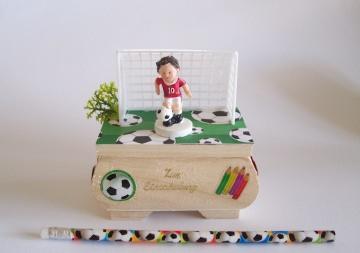 Geldgeschenk, Geburtstag ♥Fußball♥,Junge,Holzkästchen mit Deko-Tor