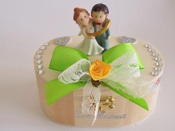 Geldgeschenk, Hochzeit, Holzbox mit Figur, Geschenkverpackung