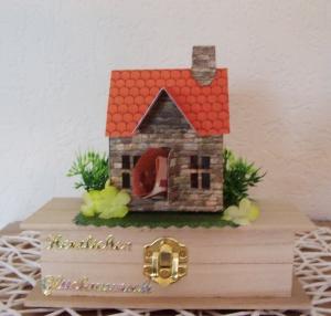 Geldgeschenk zum Einzug, Umzug,Einweihung, Hochzeit,Geschenkbox aus Holz