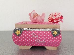 Geldgeschenk Taufe Geburt Mädchen rosa Geschenkbox Holzkästchen - Handarbeit kaufen