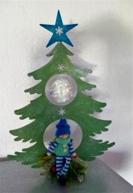 Weihnachten Deko Geldgeschenk Weihnachtsdeko Tannenbaum  Glimmer Holz mit Winter Püppchen - Handarbeit kaufen