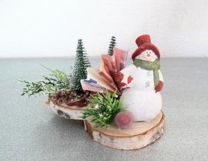 Geldgeschenke Weihnachten Geburtstag Schneemann auf Birkenholzscheiben Weihnachtsgeschenk