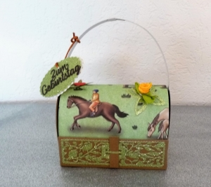 Geldgeschenk Geschenk Box Geburtstag Mädchen Pferde Geschenk Verpackung - Handarbeit kaufen
