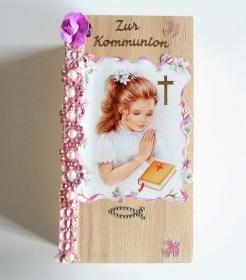 Geldgeschenke zur Kommunion Bild  Mädchen betend Geschenkkästchen Geschenkverpackung