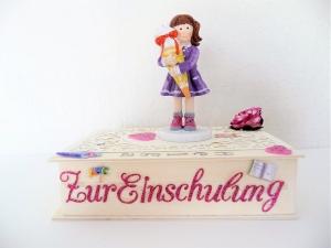 Geldgeschenke zur Einschulung Mädchen Geschenkkästchen Box personalisierbar
