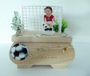Geldgeschenk Weihnachten Geschenkkästchen Fußballer Rot-Weiß Geschenk Verpackung  Vorname - Handarbeit kaufen