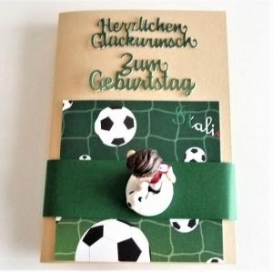 Geburtstagskarte Geldgeschenk mit Figur Fußballer rot weiß  - Handarbeit kaufen