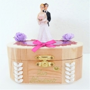 Geldgeschenk zur Vermählung Hochzeit mit Hochzeitspaar Holzbox Geschenk Verpackung - Handarbeit kaufen