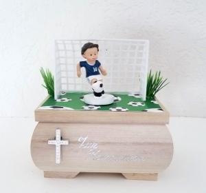 Geldgeschenk Fußball Kommunion ,Konfirmation Holzkästchen Geschenkbox