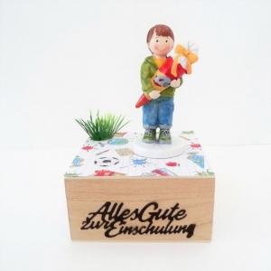 Geldgeschenk Gutschein Einschulung Schulanfang Junge Geschenkbox Holzkästchen