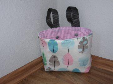 Lenkertasche Feder grau rosa mint Utensilo Hängeutensilo