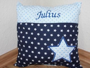 Namenskissen Taufkissen Taufe Geburt Geburtsgeschenk Kissen blau marine hellblau