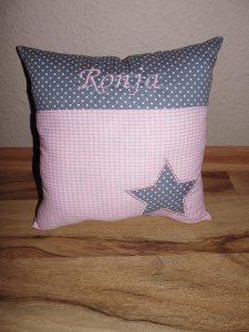 Namenskissen Taufkissen Taufe Geburt Geburtsgeschenk Kissen grau rosa