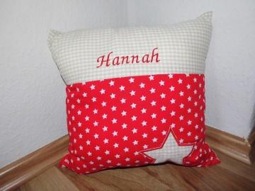 Namenskissen Taufkissen Taufe Geburt Geburtsgeschenk Kissen beige rot Stern