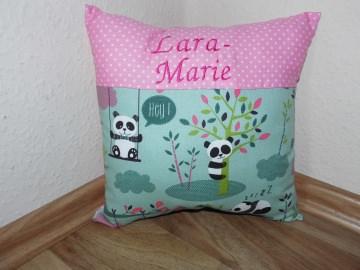 Namenskissen Taufkissen Taufe Geburt Geburtsgeschenk Kissen mint rosa pink Panda