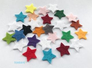 25 Filzsterne (2cm und 4cm, freie Farbe), 25 Filz Sterne bunt sortiment