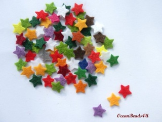 100 Mini Filz Stern (1 cm), Kleine Sterne Filz Formen