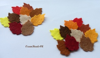 40 Mix Herbst Filz Blätter F (in 2 Größen),  Filz Applikation, Filz Formen